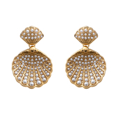 pearl oyster gold earrings
