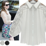 Lace shoulder point blouse