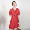 RUFFLE POINT RED DOT WRAP ONEPIECE(VV18SMOP04RD)