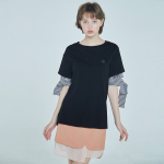 layered sleeve T-shirt Black