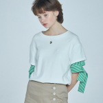 layered sleeve T-shirt White