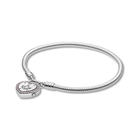 여성 팔찌 596586FPC Moments Silver Lock Your Promise Heart Clasp Bracelet