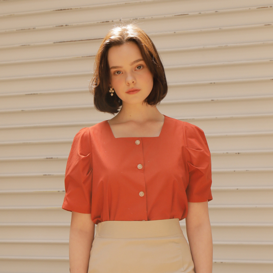puff cotton shirts_orange