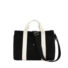 Stacey Daytrip Tote Canvas M Black(Ivory)