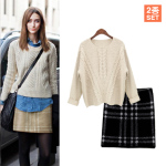 ★SET★Twist Round-neck Knit + Knit Mini Skirt (MS0355)