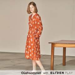 [우아솜메][윤보미,이영은 착용] Ouahsommet PRINT LONG DRESS [RUST] (OBBOP003A)