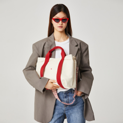 Stacey Daytrip Tote Canvas M Ivory(Red)