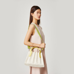 Lucky Pleats Canvas S Ivory_Lime