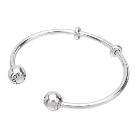 여성 팔찌 596477 Moments Silver Open Bangle, Logo Caps