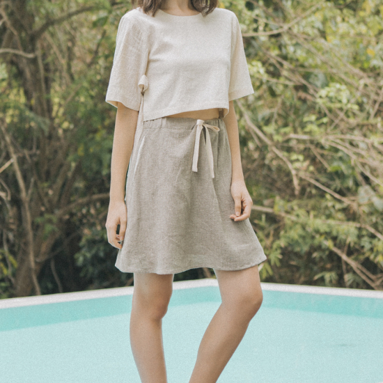 STRING MINI BEIGE SKIRT / 미디스커트